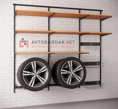 Комплект лофт № 2: деревянные полки + модули для колес.