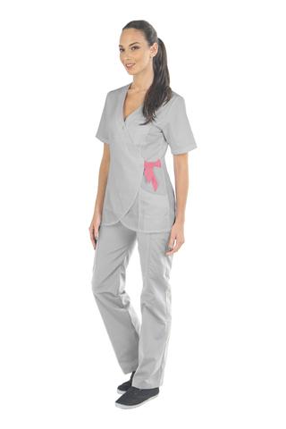 Медицинский топ-кимоно женский серый MC6076_PEWP