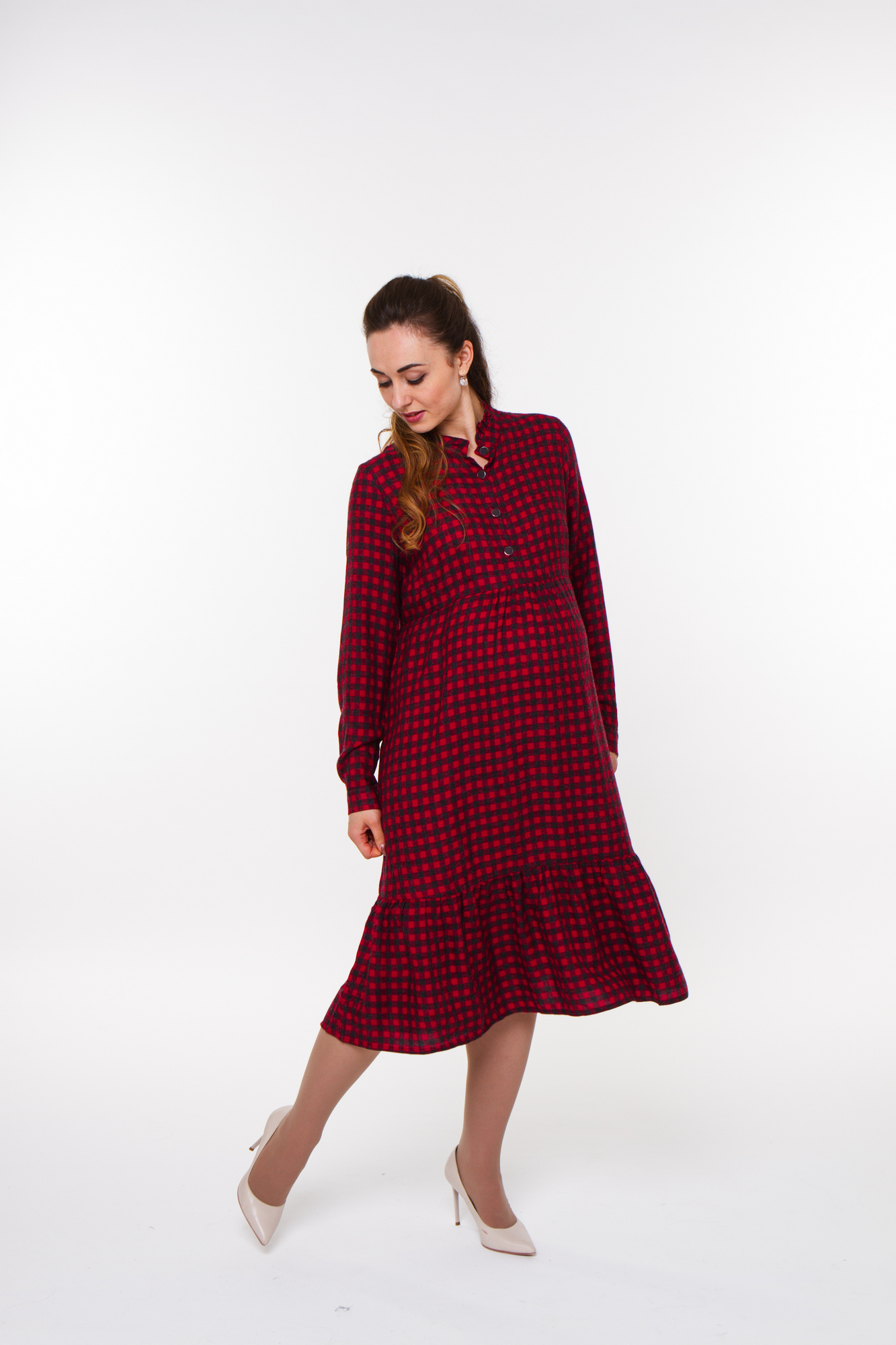 Фото платье-рубашка для беременных GEMKO от магазина СкороМама, красный, бордовый, размеры.