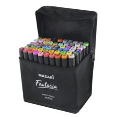 Mazari Fantasia набор маркеров для скетчинга 60 шт в сумке пенале - двусторонние спиртовые пуля/долото 3.0-6.2 мм