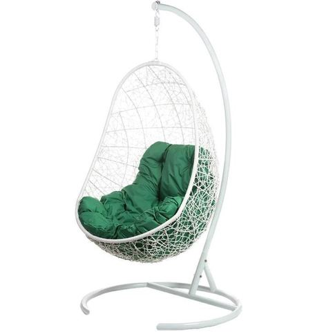 Кресло подвесное Ewerton White зеленая подушка