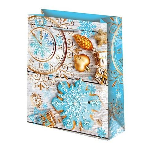 Новогодний подарочный пакет Часы (средний)