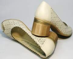 Бежевые туфли на невысоком каблуке летние Sturdy Shoes 87-43 24 Lighte Beige.