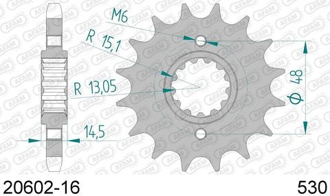 20602-16 Звезда передняя HONDA CB 1100, 1300, CBR 1000, VFR 800 (ведущая) стальная, 530, AFAM (JTF339.16)