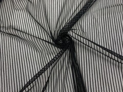 Сетка эластичная чёрная в тонкую полоску (метражом)