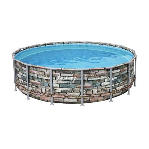 Каркасный бассейн Bestway Loft 56966 (488х122 см) с картриджным фильтром, лестницей и защитным тентом / 22519