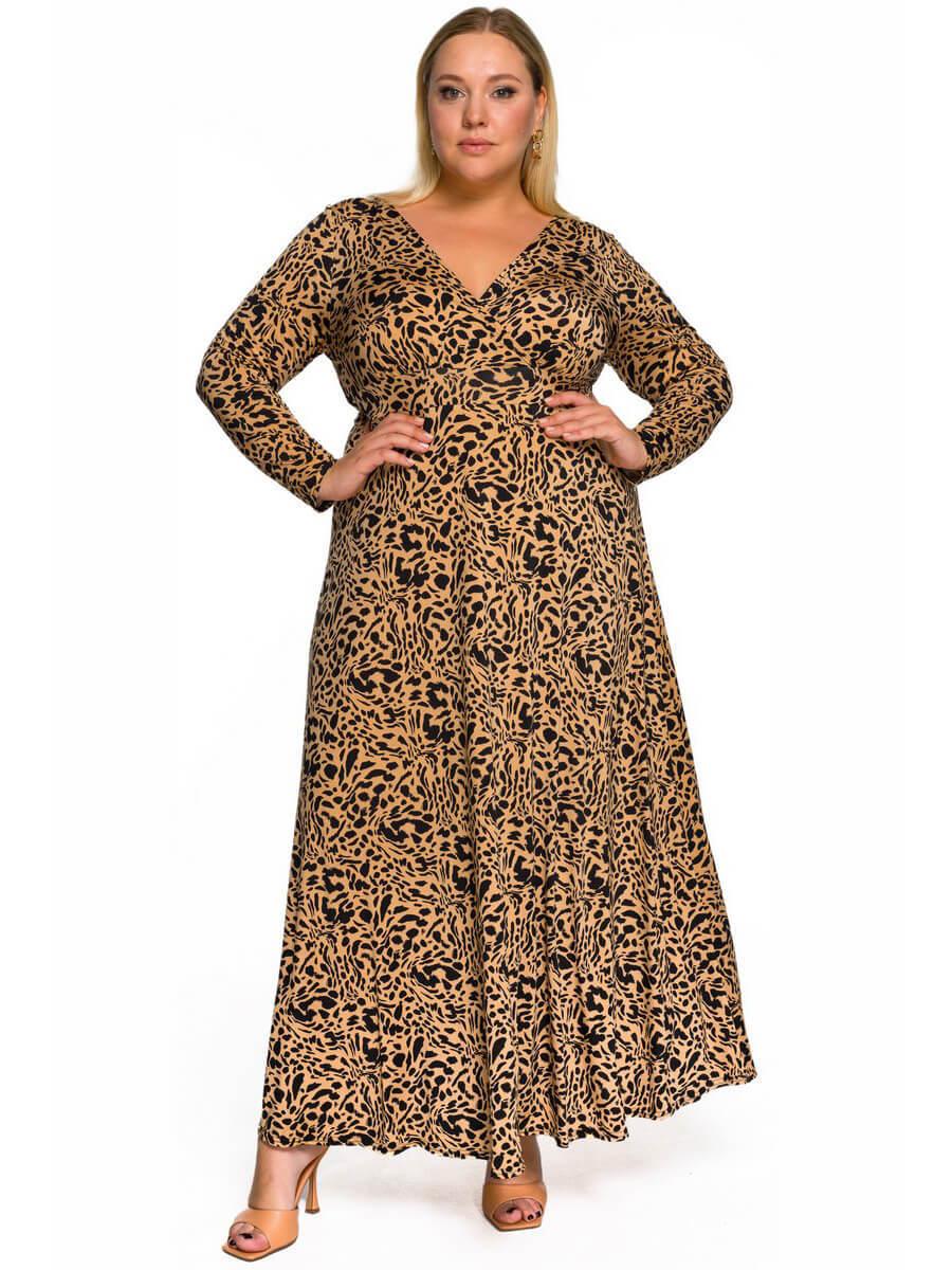 Длинное платье Анималистичный принт