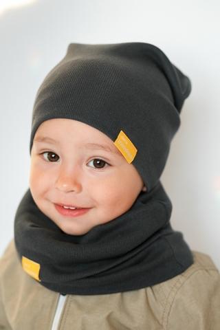 Детская шапка хлопковая в рубчик графитовая