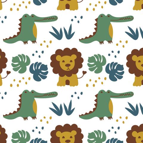 Африка. Львы и крокодилы.
