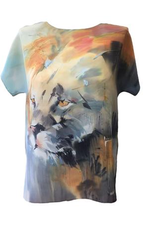 Шелковая блузка батик Лео