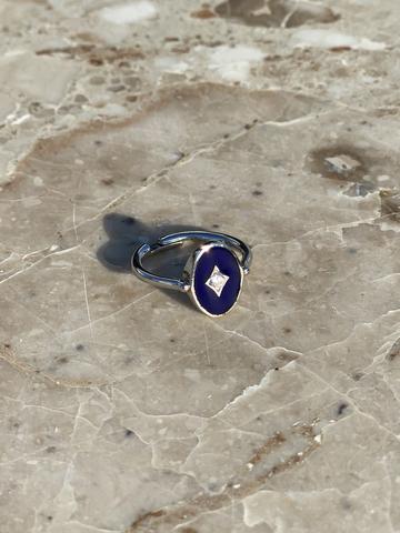 Кольцо Аврора из серебра с синей эмалью