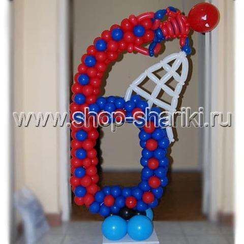 цифра 6 из воздушных шаров Человек Паук