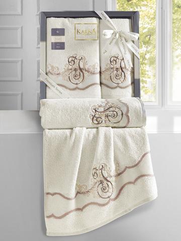 Комплект махровых полотенец ''KARNA'' ADVEN 50х90-70х140 см цвет кремовый