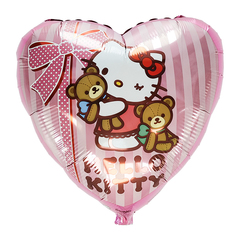 Фольгированное Сердце Hello Kitty с медвежатами