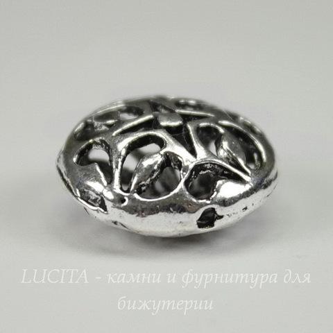 """Бусина металлическая круглая плоская """"Ночь"""" 16х8 мм (цвет - античное серебро)"""