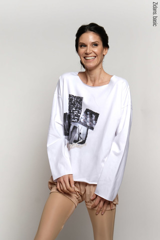 Long sleeve T-shirt with collage print