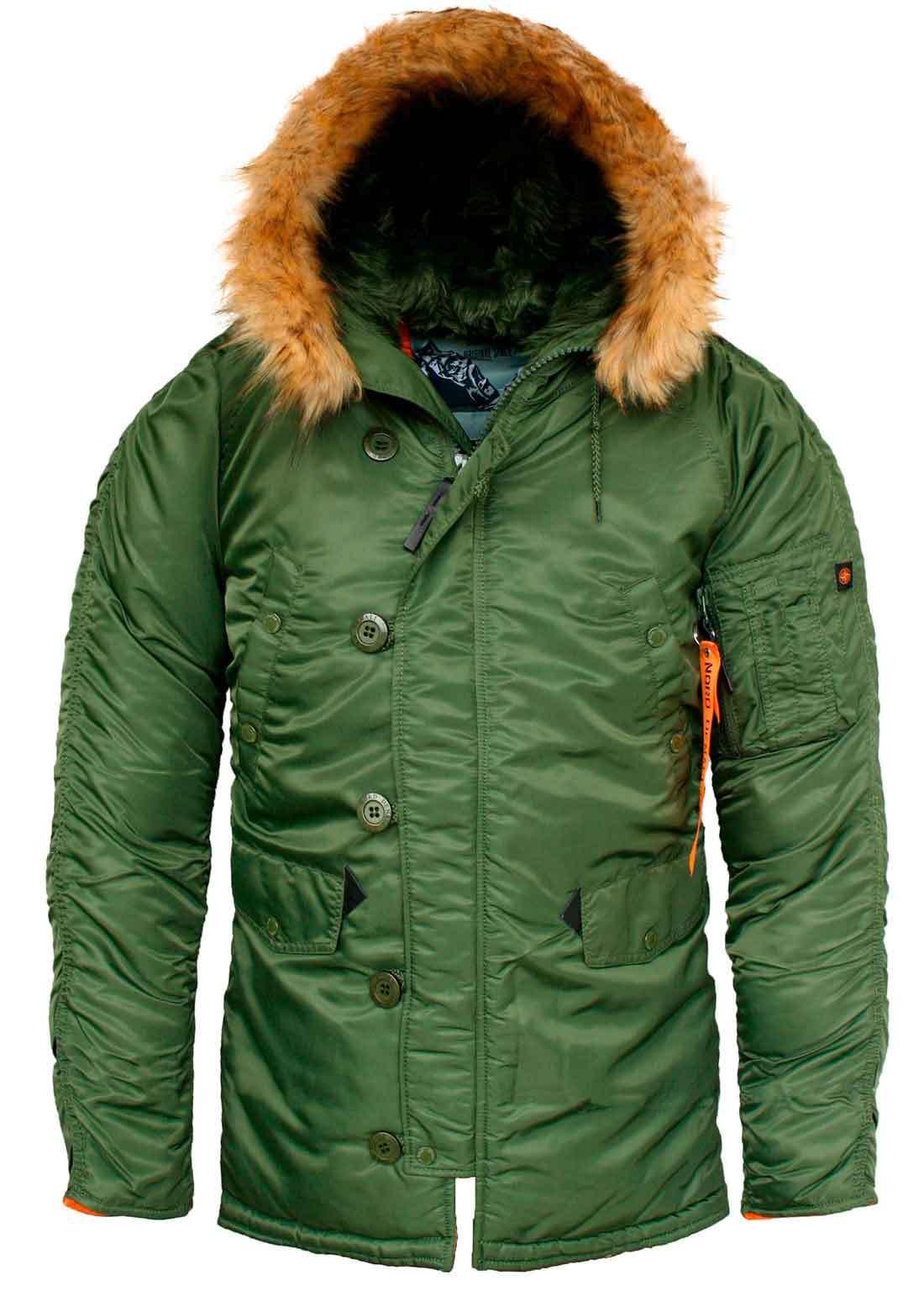 Куртка Аляска  N-3B  Husky Denali  (зеленая - r.green/orange)