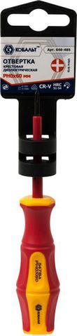 Отвертка диэлектрическая КОБАЛЬТ Ultra Grip PH-0 х 60 мм CR-V, двухкомпонентная рукоятка (1 шт.) подвес