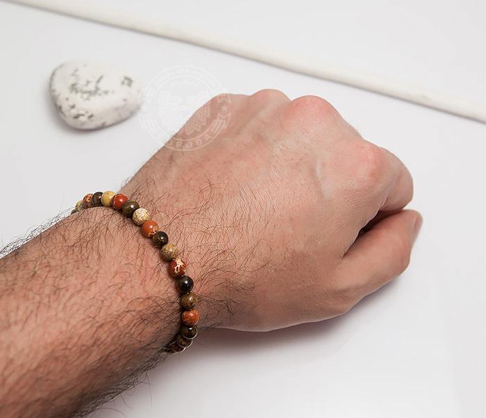 BS750 Мужской яркий браслет из натуральной яшмы фото 06