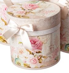 Набор коробок круглых Париж 3шт, D21хH21см, бежевый/розовый