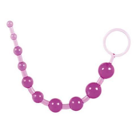 Фиолетовая анальная цепочка с кольцом - 25 см. - Toyfa Basic Basic 881302-4