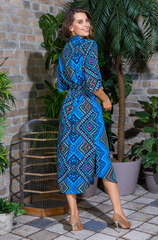 Платье-рубашка из вискозы голубой принт