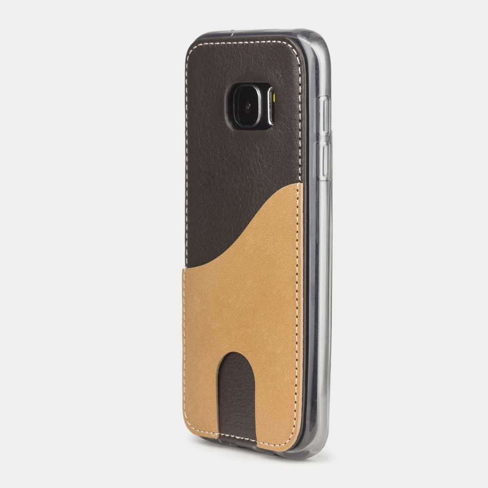 Чехол-накладка Andre для Samsung S7 из натуральной кожи теленка, темно-коричневого цвета
