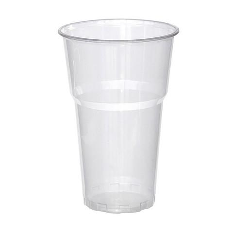 Стакан одноразовый Бюджет пластиковый прозрачный 500 мл 50 штук в упаковке