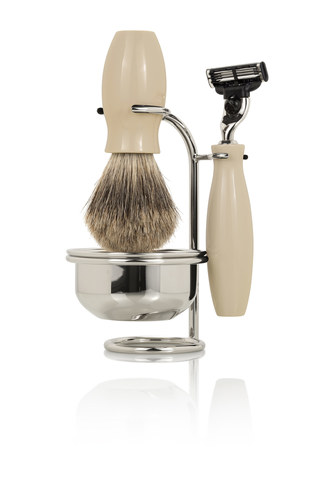 Набор бритвенный Mondial: станок, помазок, чаша, подставка; бежевый