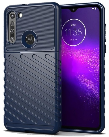 Чехол темно-синего цвета на Motorola G8, противоударный, серия Onyx от Caseport