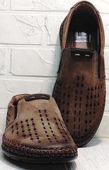 Мужские кожаные мокасины туфли в дырочку мужской кэжуал стиль Luciano Bellini 91737-S-307 Coffee.