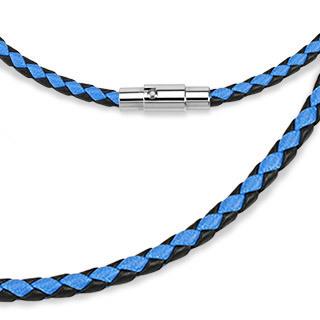 Чокер шнур на шею сине-чёрный 51 см 3 мм толщиной с магнитным замком из плетёной кожи SPIKES SN9027-3BK