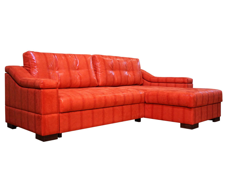 Угловой диван Макс П5 2д1я, обивка искусственная замша Нубук оранж HWS
