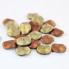 Бусина Ripple Волнистый диск, 12 мм, золотая с медно-сиреневым матовая