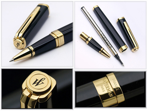 Ручка-роллер Waterman Exception, цвет: Slim Black GT, стержень: Fblk (TF)123
