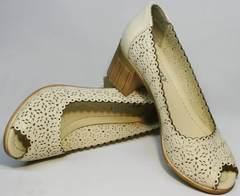 Модные кожаные туфли босоножки женские Sturdy Shoes 87-43 24 Lighte Beige.