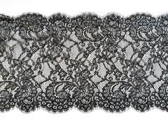 Кружево шантильи, с ресничками, 23 см, черное с серебристым напылением, купон (3м), SK-1102