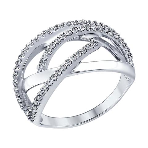 94012303 - Кольцо из серебра с фианитами