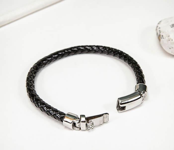 BM584 Мужской браслет шнур из кожи черного цвета фото 02