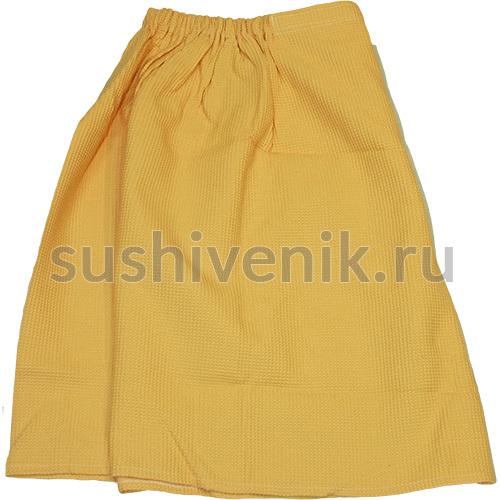 Парео для бани женское вафельное, XXXL (желтое)