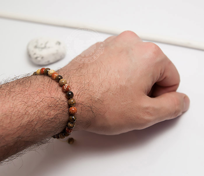 BS750 Мужской яркий браслет из натуральной яшмы фото 07