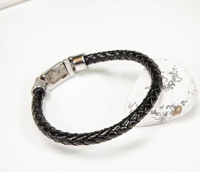 BM584 Мужской браслет шнур из кожи черного цвета фото 03