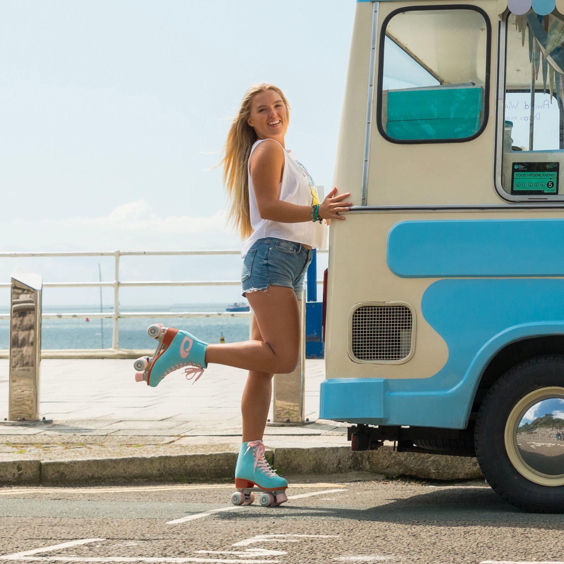 Ролики Квады Osprey Quad с высоким ботинком, голубые