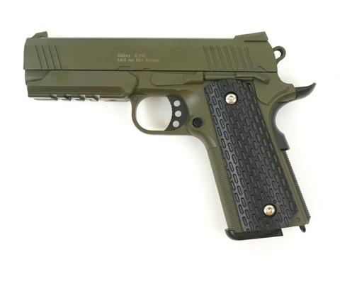 Страйкбольный пистолет Galaxy G.25G  COLT1911PD с глушителем металлический, пружинный