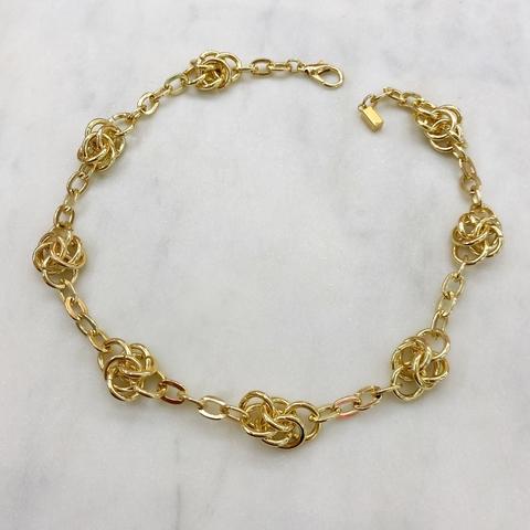 Колье-цепь с узелками (золотистый)