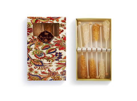Сахар леденцовый на палочке в подарочной упаковке 6 шт (белый/шафран, 72 гр.). Интернет магазин чая
