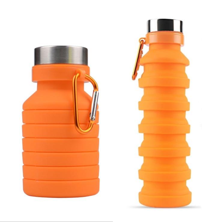 Бутылка для воды силиконовая складная с карабином 550 мл оранжевая