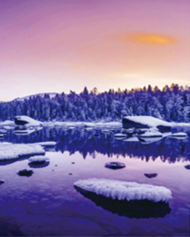 Алмазная Мозаика 40x50 Зимняя река в фиолетовых тонах
