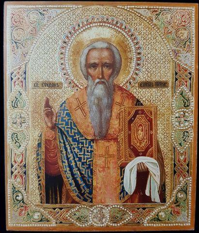 Икона святой Стефан Пермский на дереве на левкасе мастерская Иконный Дом