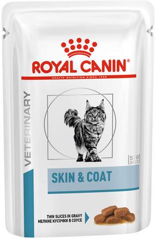 Корм Royal CANIN SKIN & COAT FORMULA для кастрированных и стерилизованных котов и кошек с чувствительной кожей и шерстью в соусе 85 гр